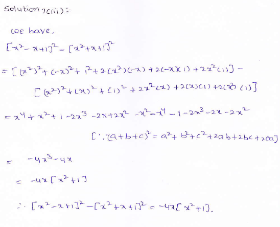 RD Sharma class 9 maths Solutions chapter 4 Algebraic Identities Exercise 4.2 Question 7 (iii)