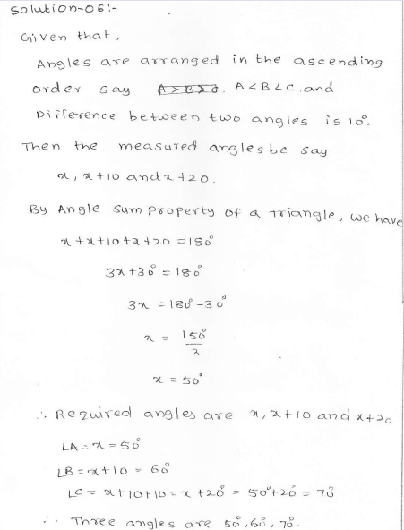 RD Sharma Class 7 Solutions 15.Properties of triangles Ex-15.2 Q 6