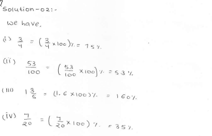 RD Sharma class 7 solutions 11.Percentage Ex-11.1 Q 2
