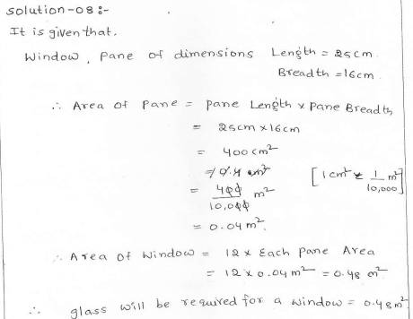 RD Sharma class 7 solutions 20.Munsuration(perimeter and area of rectiliner figures) Ex-20.1 Q 8