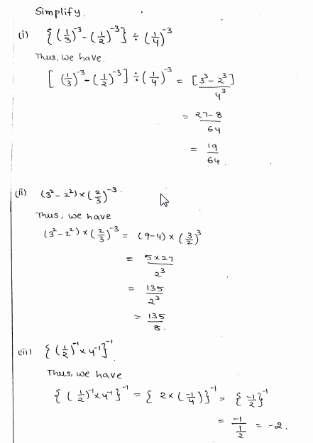 RD Sharma Class 8 Solutions Chapter 2 Powers Ex 2.2 Q 7