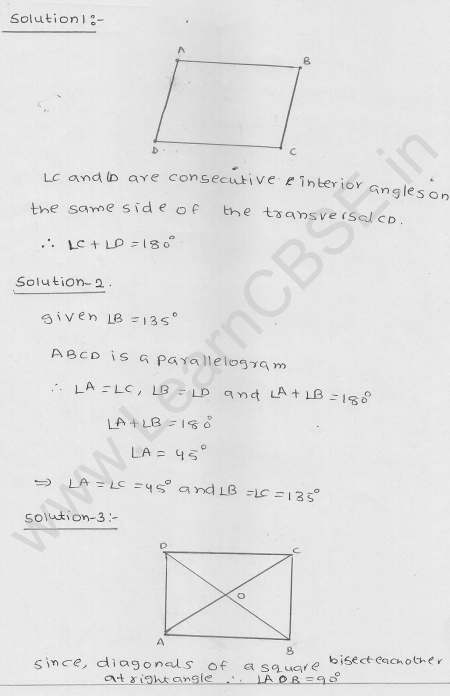 RD Sharma Class 9 Solutions Chapter 14 Quadrilaterals Ex 14.3 1