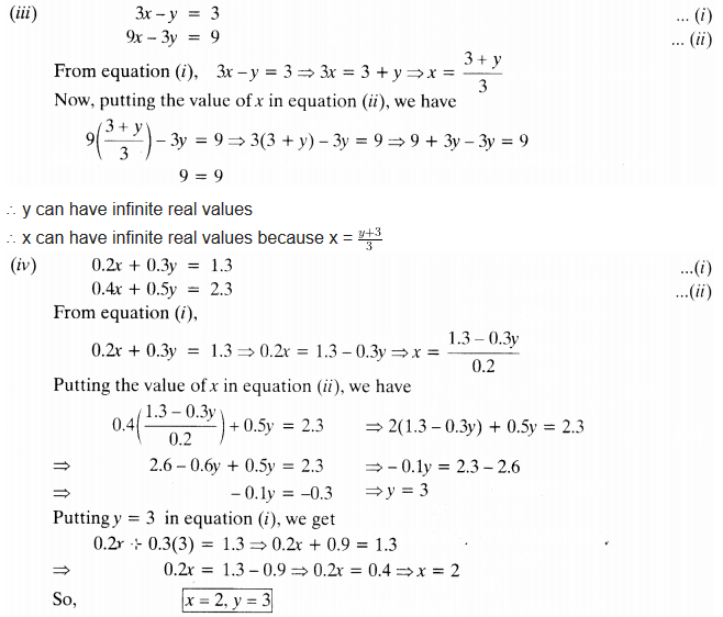 NCERT Solutions for Class 10 Maths Chapter 3 Pdf Pair Of Linear Equations In Two Variables Ex 3.3 Q1.1