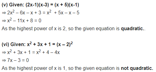NCERT Solutions for Class 10 Maths Chapter 4 Quadratic Equations Ex 4.1 PDF Download Q1.1