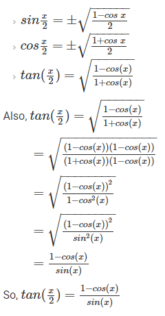 Trigonometric Formulas Half Angle Identities