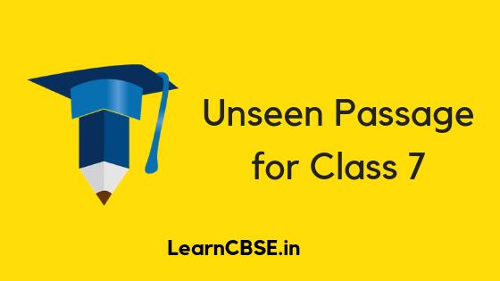 Unseen Passage for Class 7