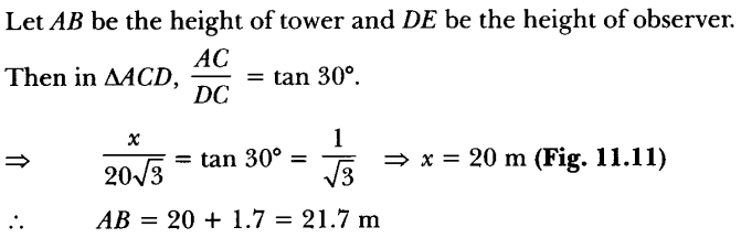 Applications of Trigonometry Height and Distance Class 10 Q 7