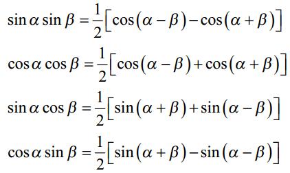 Product to Sum Trigonometry Formulas