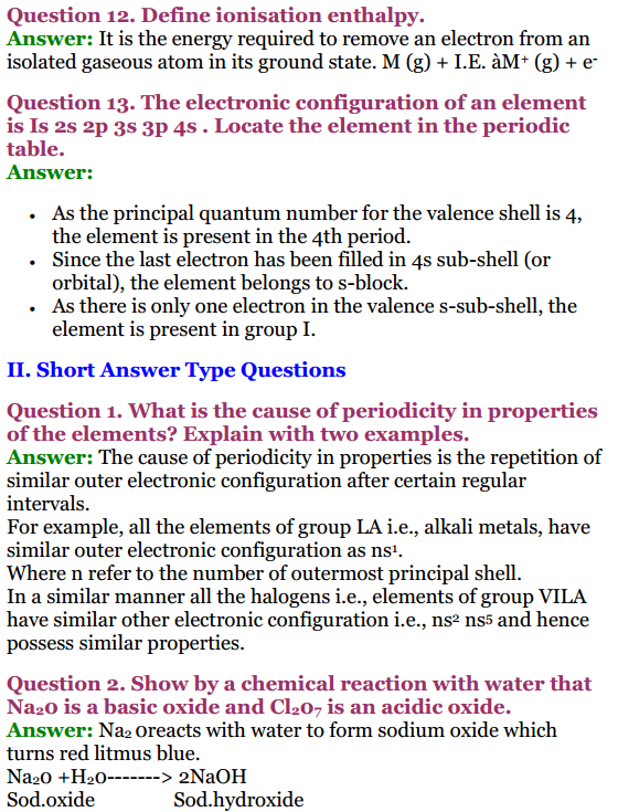 NCERT Solutions for Class 11 Chemistry (Updated for 2019-20)
