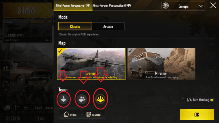 How to Select Solo, Due, or Squad play in PUBG Mobile 9