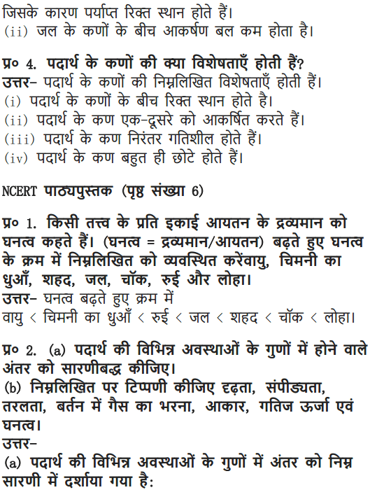 NCERT Solutions for Class 9 Science Chapter 1 Matter in Our Surroundings Hindi Medium 2