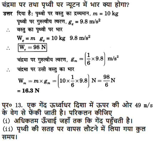 NCERT Solutions for Class 9 Science Chapter 10 Gravitation and Floatation Hindi Medium 14
