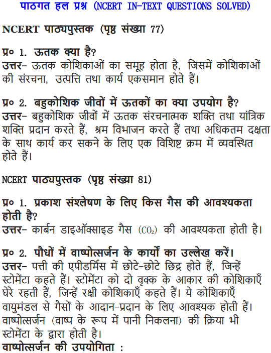 NCERT Solutions for Class 9 Science Chapter 6 Tissues Hindi Medium 1