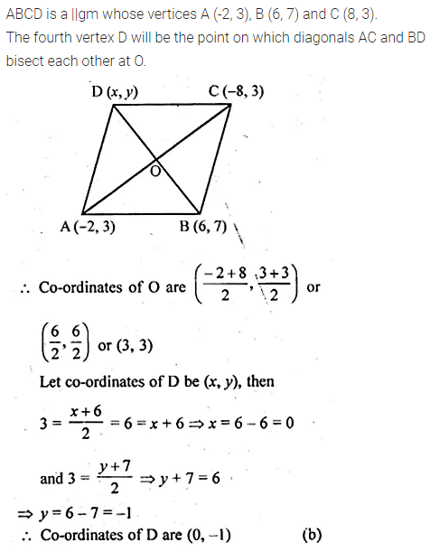 ML Aggarwal Class 10 Solutions for ICSE Maths Chapter 11 Section Formula MCQS