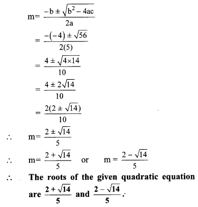 Maharashtra Board Class 10 Maths Solutions Chapter 2 Quadratic Equations Practice Set 2.4 4