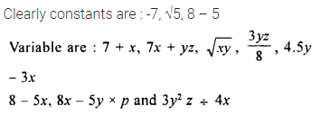 Selina Concise Mathematics Class 8 ICSE Solutions Chapter 11 Algebraic Expressions (Including Operations on Algebraic Expressions) Ex 11A 1