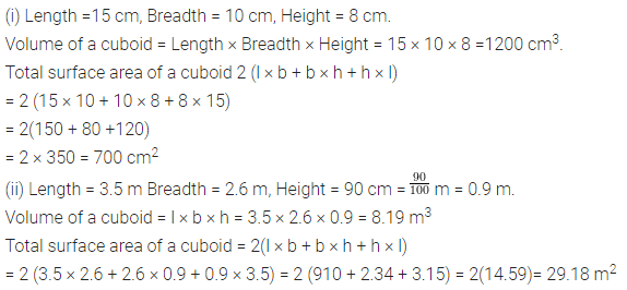 Selina Concise Mathematics Class 8 ICSE Solutions Chapter 21 Surface Area, Volume and Capacity (Cuboid, Cube and Cylinder) Ex 21A 1