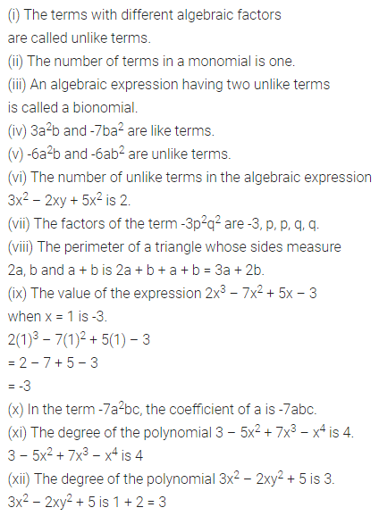 ML Aggarwal Class 7 Solutions for ICSE Maths Chapter 8 Algebraic Expressions Objective Type Questions 1