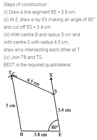 ML Aggarwal Class 8 Solutions for ICSE Maths Chapter 14 Constructions of Quadrilaterals Ex 14.1 9