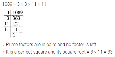 ML Aggarwal Class 8 Solutions for ICSE Maths Chapter 3 Squares and Square Roots Check Your Progress 1