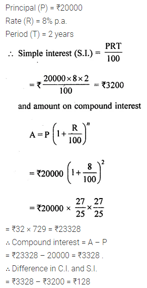 ML Aggarwal Class 8 Solutions for ICSE Maths Chapter 8 Simple and Compound Interest Ex 8.2 8