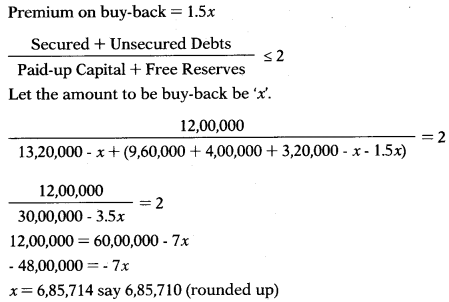 Buy Back of Shares – Corporate and Management Accounting MCQ 9