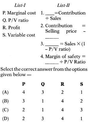 Marginal Costing – Corporate and Management Accounting MCQ 7
