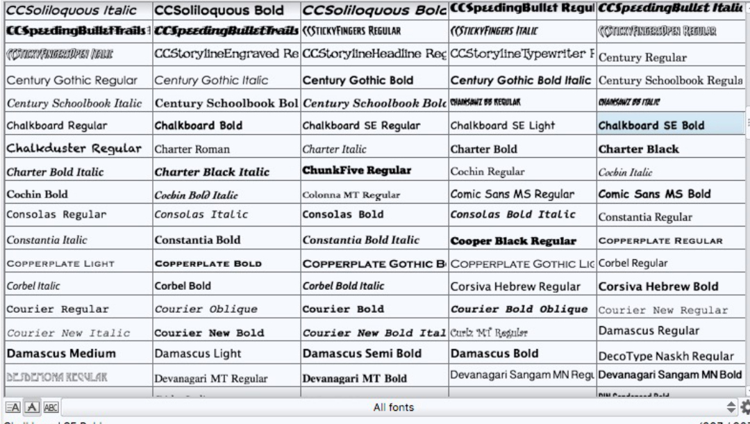 Clip Studio Paint Font List