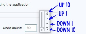Clip Studio Paint number controls, with two sets of arrows.