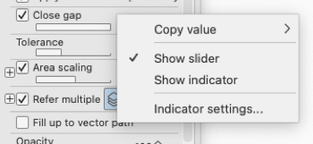 Menu option indicating whether the setting will be shown as a slider or an indicator