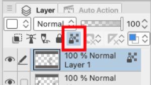 The Lock Transparent Pixels tool in Clip Studio Paint
