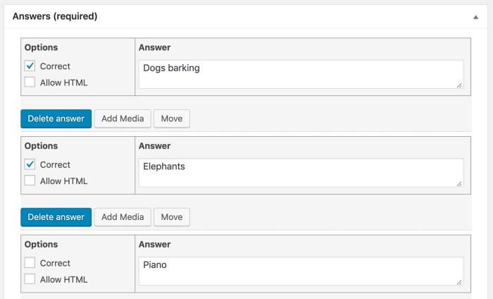 LearnDash multiple choice question, admin setup