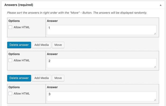 LearnDash sorting choice question, admin setup