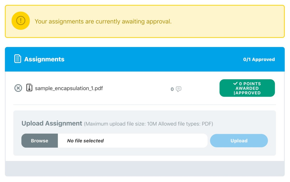 LearnDash assignments, example on the frontend