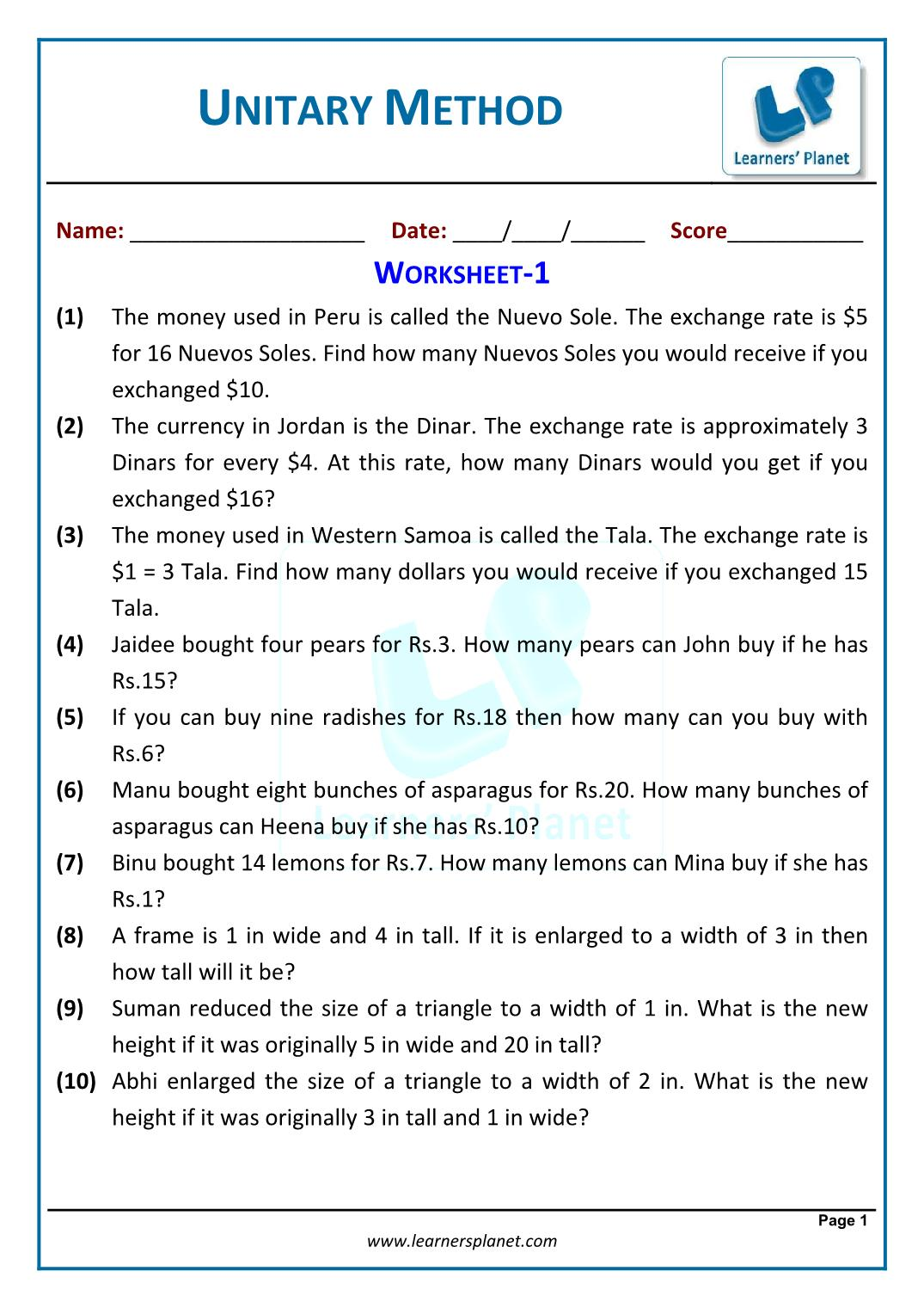 Printables Of Worksheet On Word Problems On Unitary Method