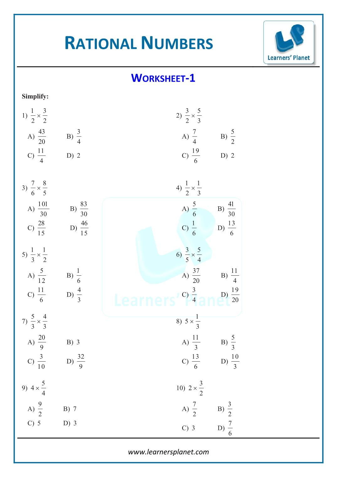 Study Solution And Tutorial Rational Numbers Worksheet