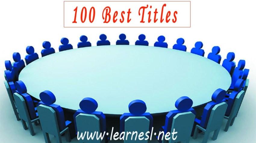 Best Dsicussion Titles