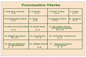 17 Punctuation Marks in English