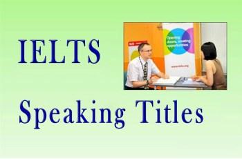 IELTS Speaking Titles