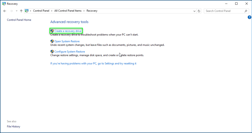 Create a recovery drive