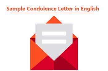 Sample Condolence Letter in English