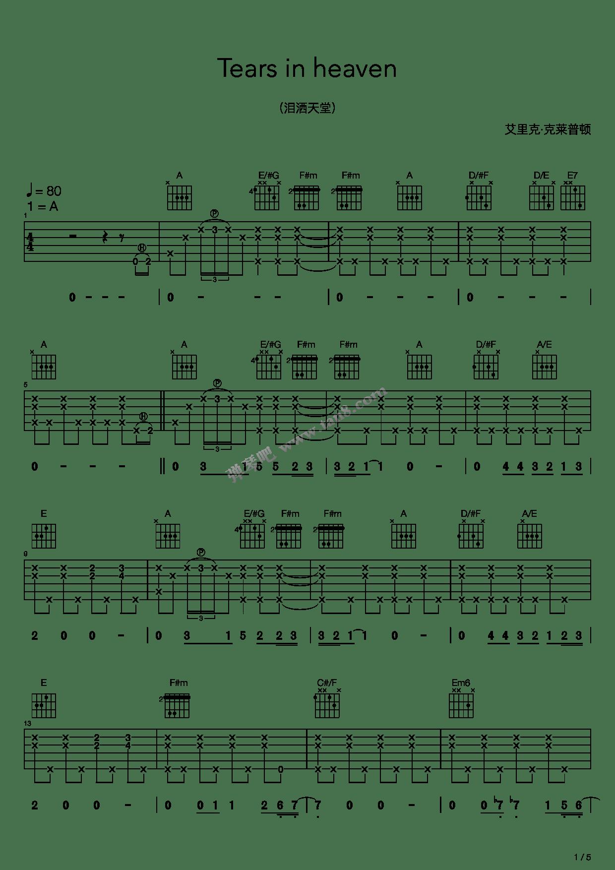 Chord Lagu Eric Clapton Tears In Heaven