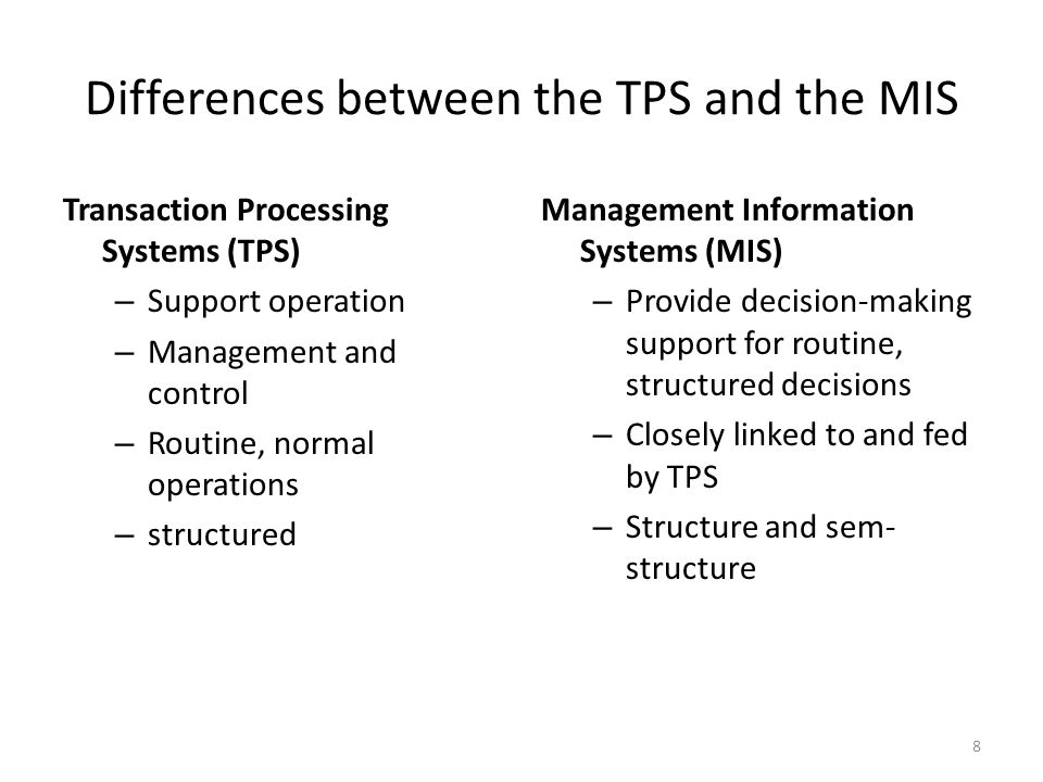 difference between tps mis Mis systems obtain data from tps systems differences to mis what distinguished mis from a decision support system.