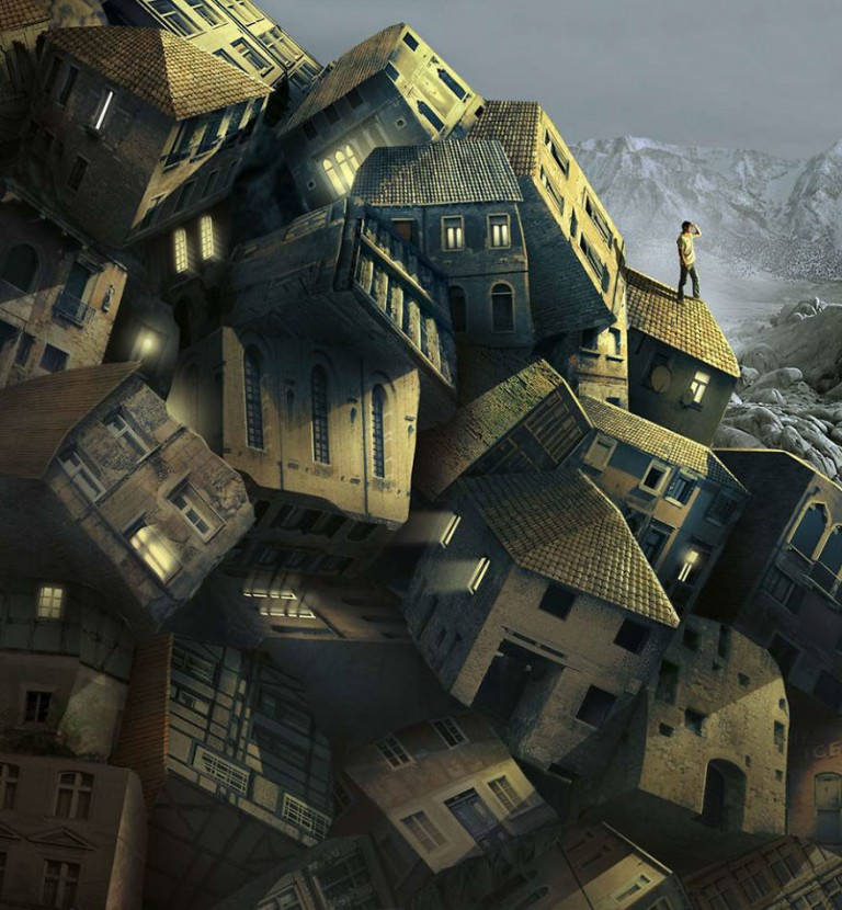surreal illustrations igor morski houses