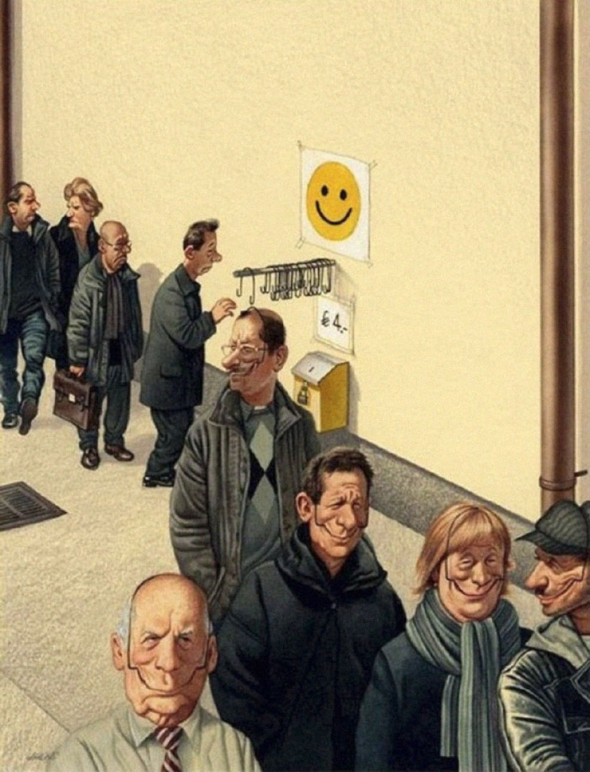 Realistic Drawings by Gerhard Haderer happiness
