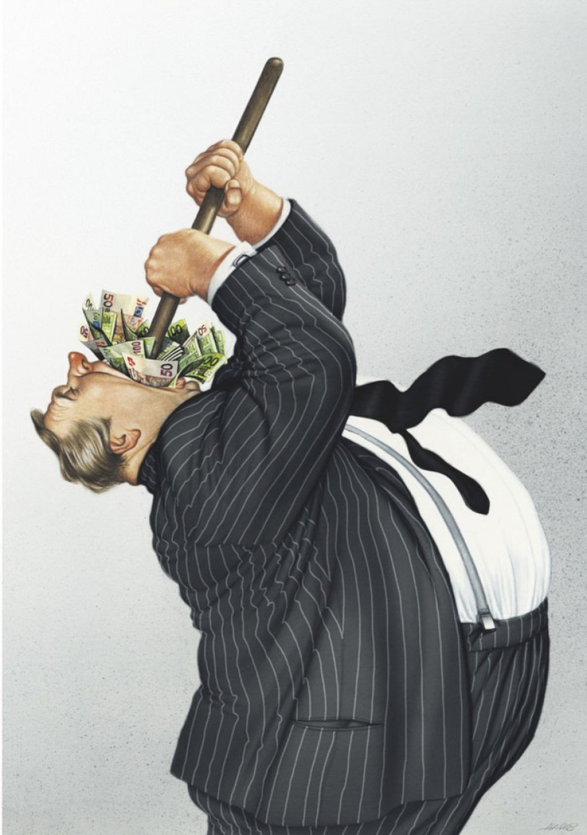 Realistic Drawings by Gerhard Haderer greed