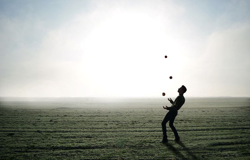Throwing balls into the air