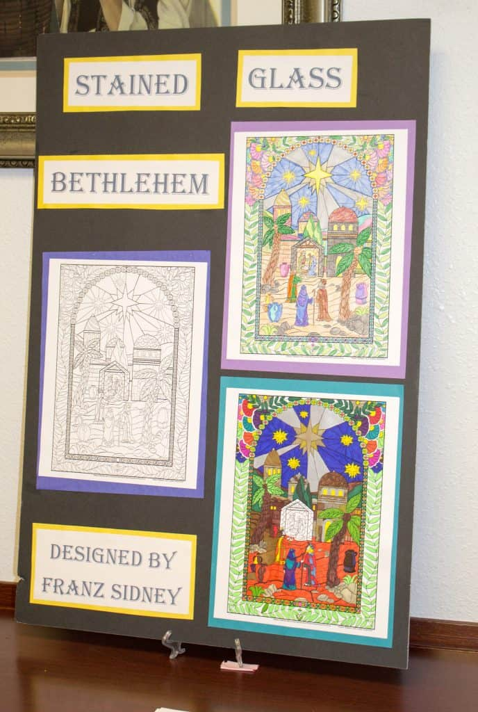 Beautiful stained glass Bethlehem coloring picture art by Franz Sydney- Nativity Festival-Enjoy nativities from around the world. Free event in South Jordan Utah.