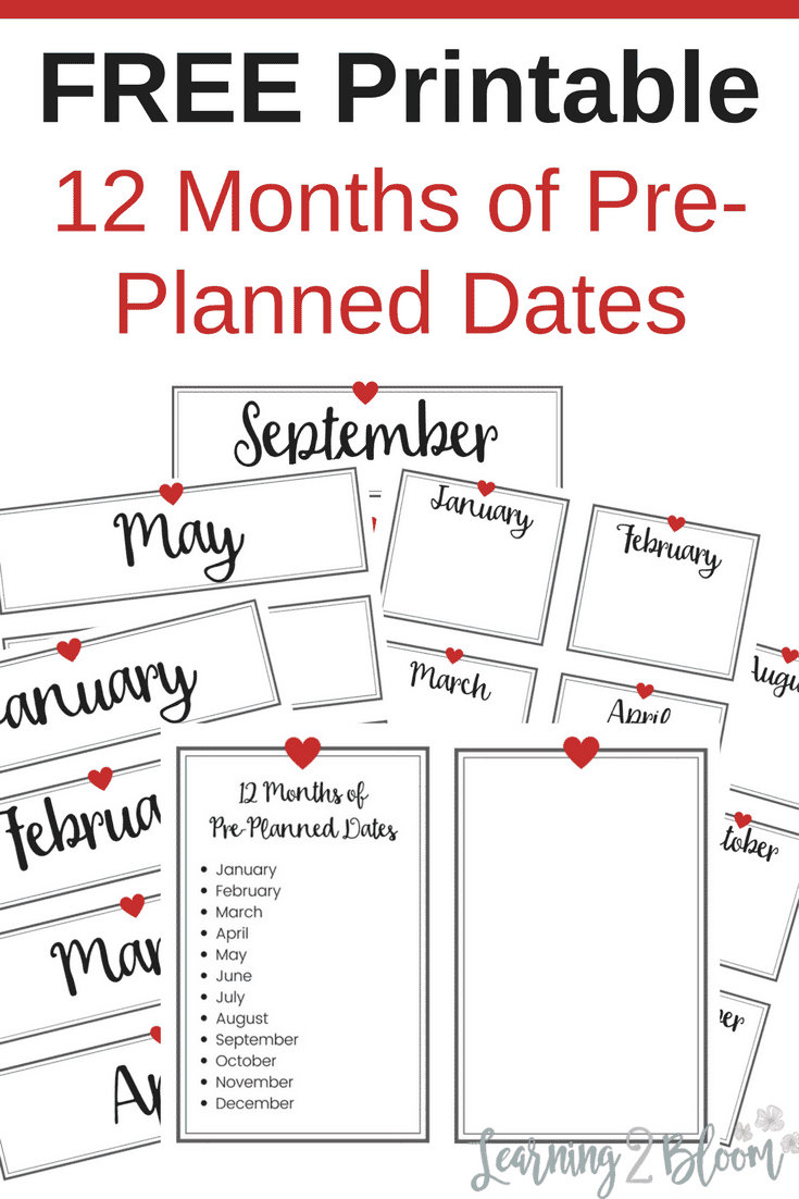 graphic regarding Printable Dates named 12 Pre-prepared Dates - Finding out2Bloom