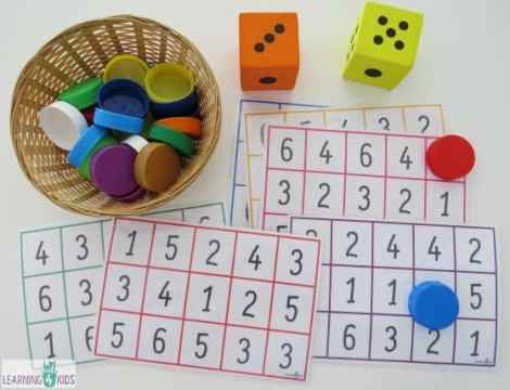 Subitising Printable Dice Game   Learning 4 Kids Free printable number bingo boards